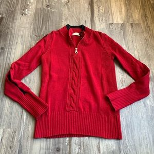 DKNY Jeans Red Pullover 1/4 Zip Sweater Vintage L